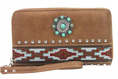Western Concho Embroidery Wallet